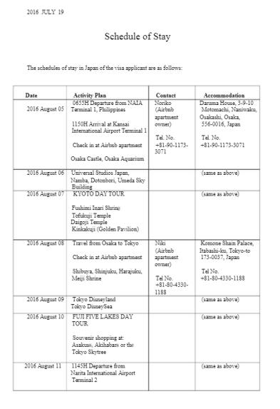 japan schedule photo